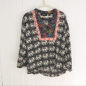Feathers By Tolani Elephant Print Top